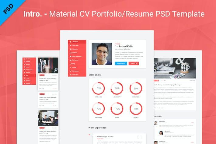 Cover Image For Intro. - Material CV Portfolio/Resume PSD Template