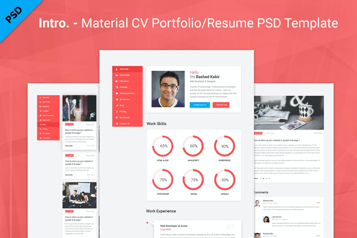 Download Intro. - Material CV Portfolio/Resume PSD Template by CreativeGigs by Unknow