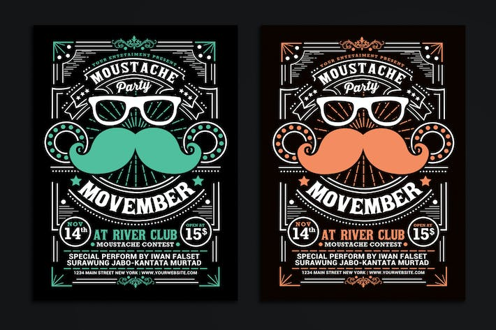 Thumbnail for Movember Moustache Party Flyer