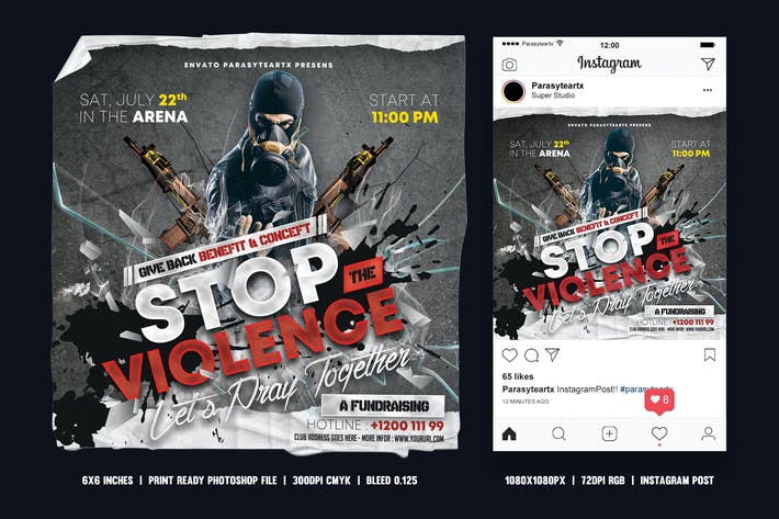 Thumbnail for Stop the Violence Square Flyer & Instagram Post