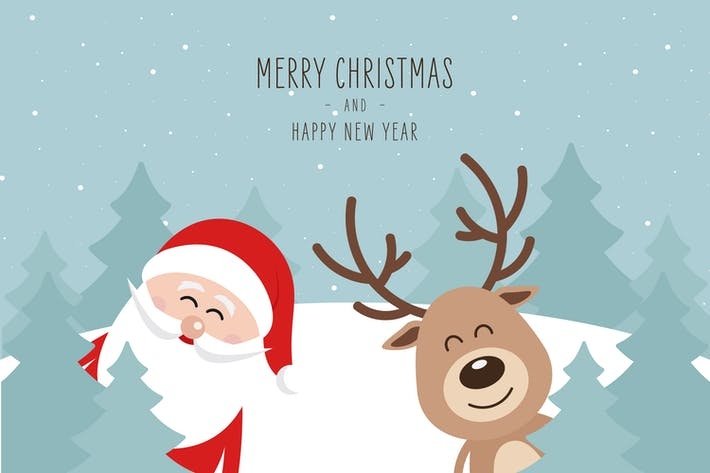 Thumbnail for Christmas Cute Santa Claus and Reindeer Vector