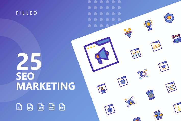 Thumbnail for SEO Marketing Filled Icons