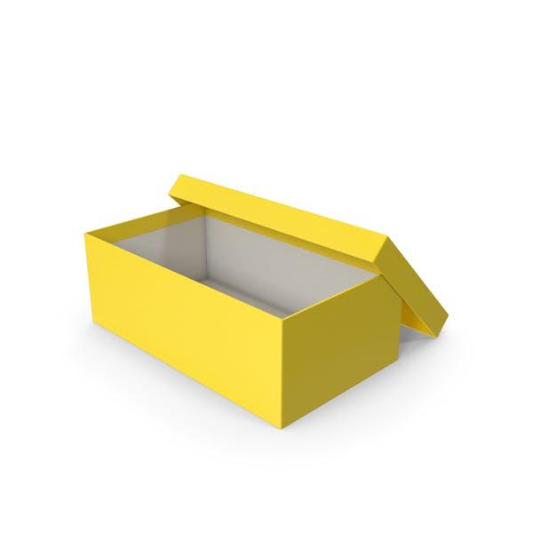 Caja de zapatos amarilla abierta