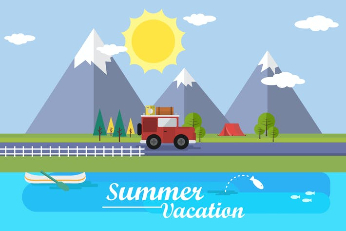 Thumbnail for Summer Vacation - Illustration Background