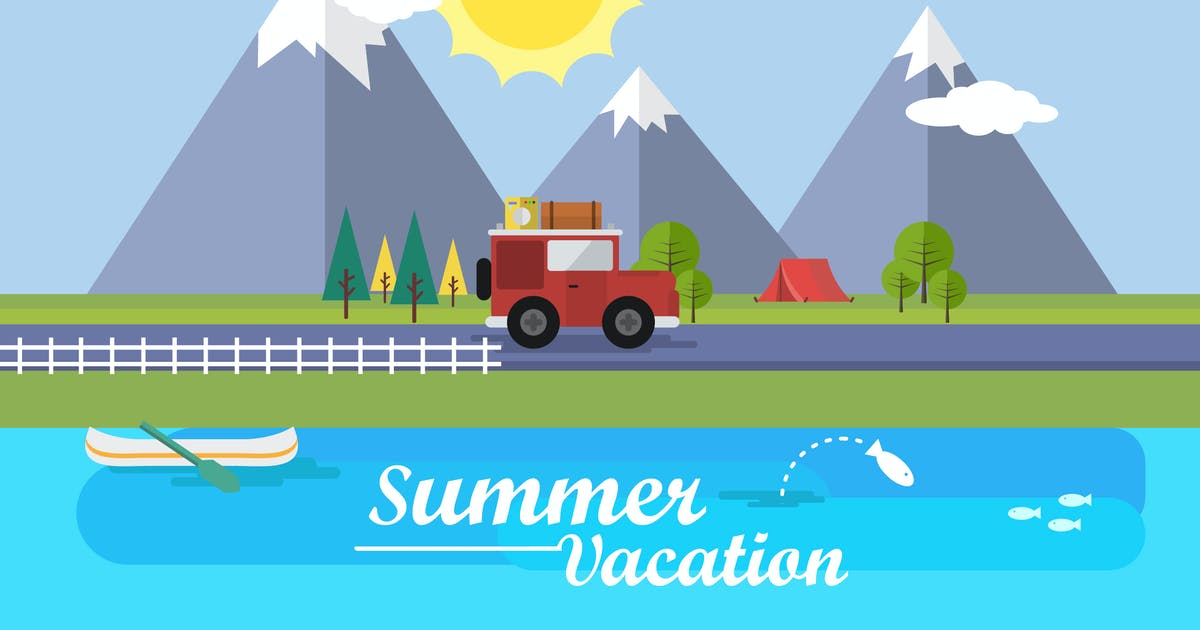 Download Summer Vacation - Illustration Background by Graphiqa