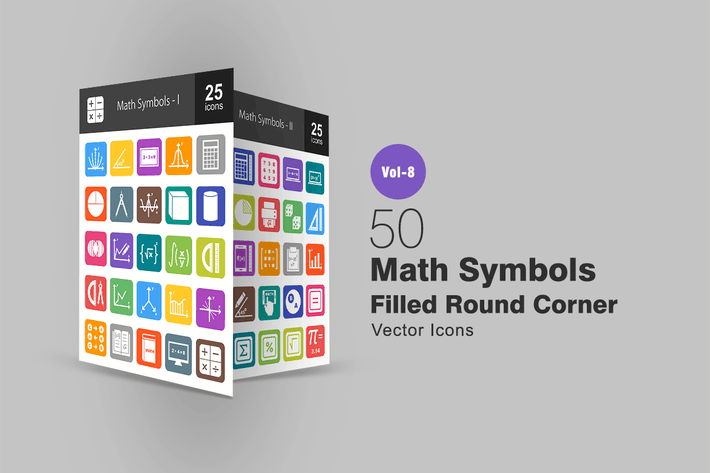 Thumbnail for 50 Math Symbols Filled Round Corner Icons