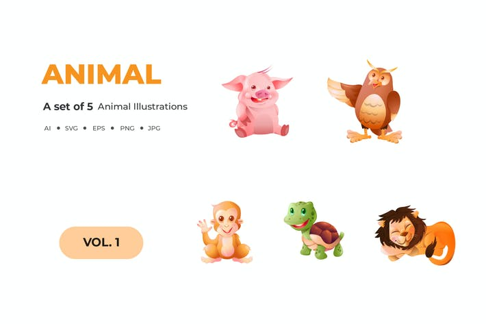 Thumbnail for Cartoon Animal Illustrations