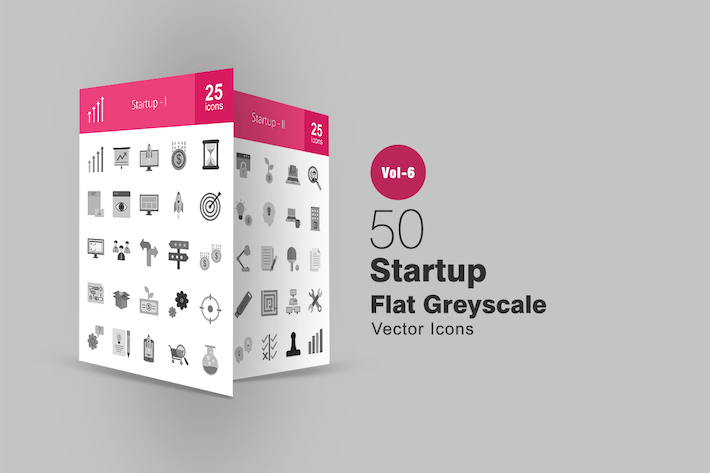 Thumbnail for 50 Startup Flat Greyscale Icons