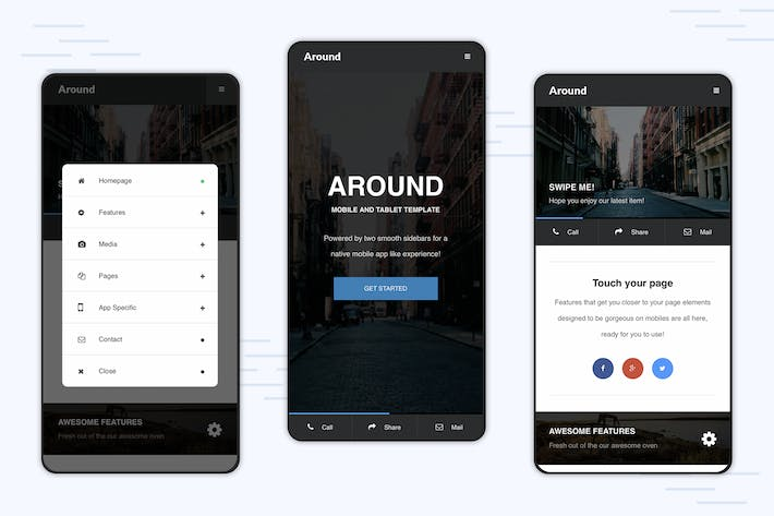 Thumbnail for Around | Mobile Modal Focused Site Template