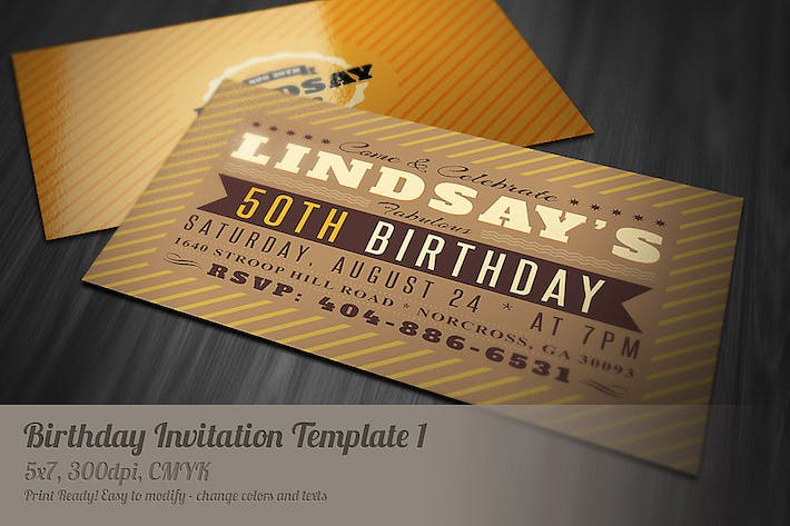 Thumbnail for Retro Birthday Invitation 1