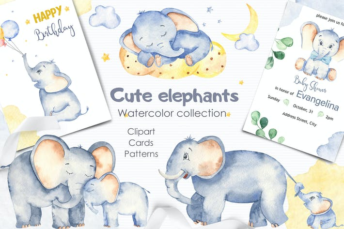 Thumbnail for Watercolor cute elephants. Clipart and cards