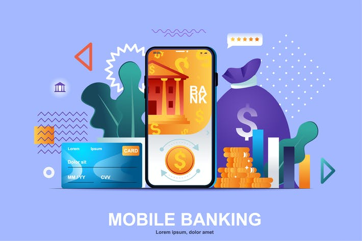 Thumbnail for Mobile Banking Flat Concept Vector Illustration
