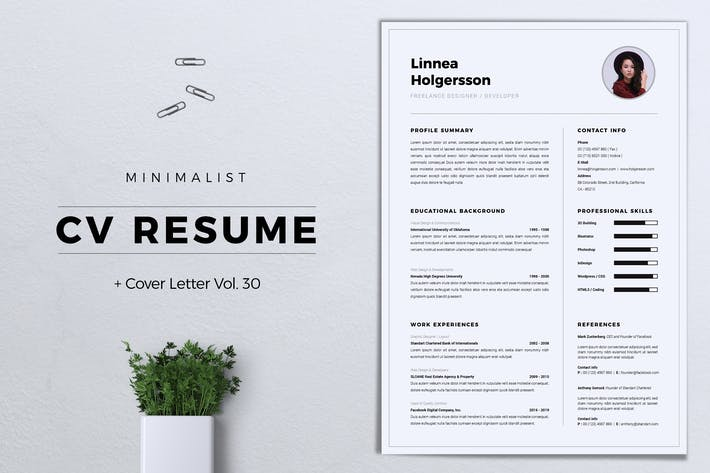Thumbnail for Minimalist CV Resume Vol. 30