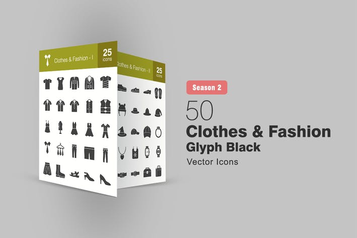 Thumbnail for 50 Clothes & Fashion Glyph Icons Season II