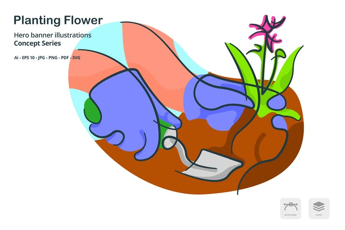 Thumbnail for Planting Flower Agriculture Vector Illustration