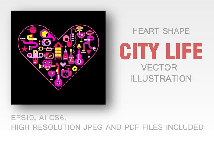 Thumbnail for City Life heart shape vector illustration