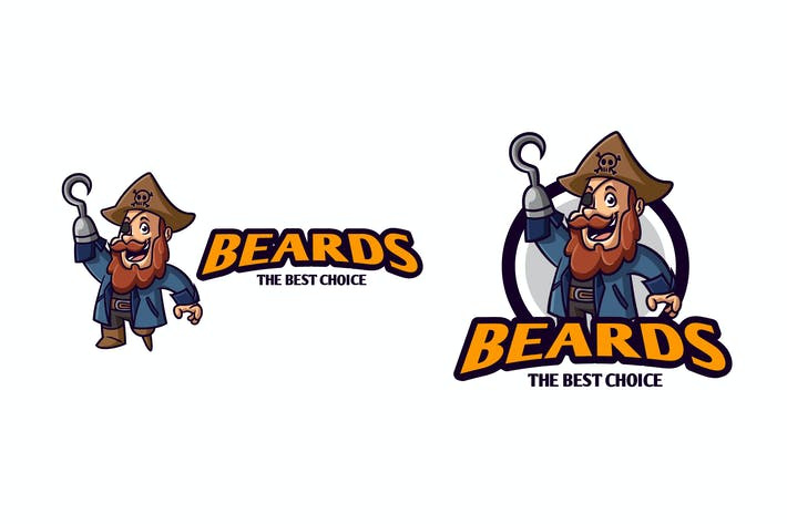 Thumbnail for Retro Cartoon Bearded Pirate Character Mascot Logo