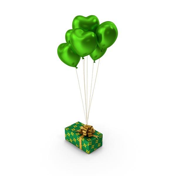 Giftbox Green Heart balloons