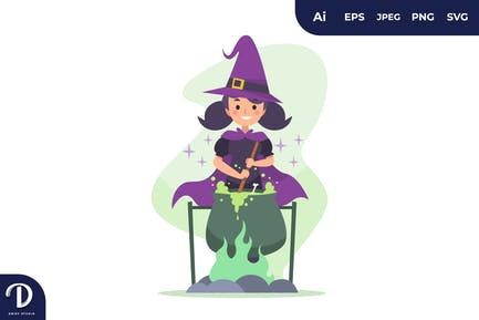 Cute Halloween Witch Making Spell