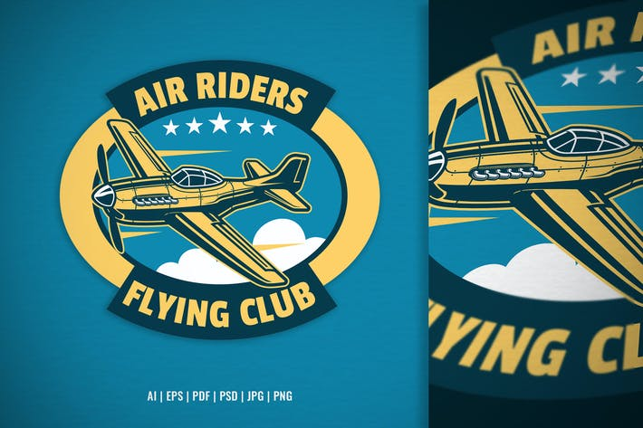 air riders flying club logo template