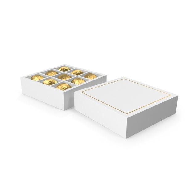 White Square Gift Box with Chocolates