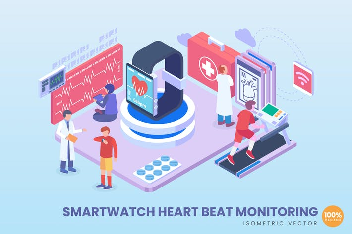 Isometric Smart Watch Heartbeat Monitoring Concept