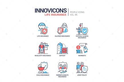 Lebensversicherung - Linie Design Stil Icons gesetzt