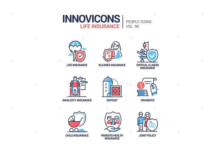 Life insurance - line design style icons set