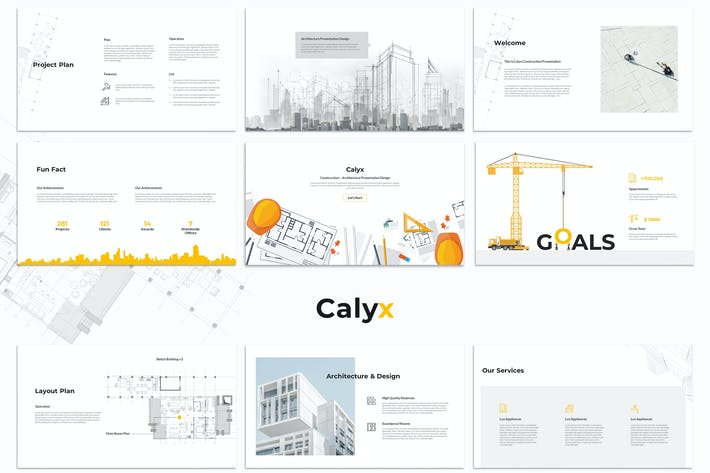 Thumbnail for Calyx : Construction Google Slides Template