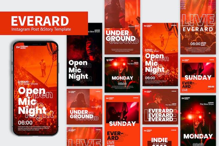 Thumbnail for Everard Event Music Instagram Post & Story Pack RH