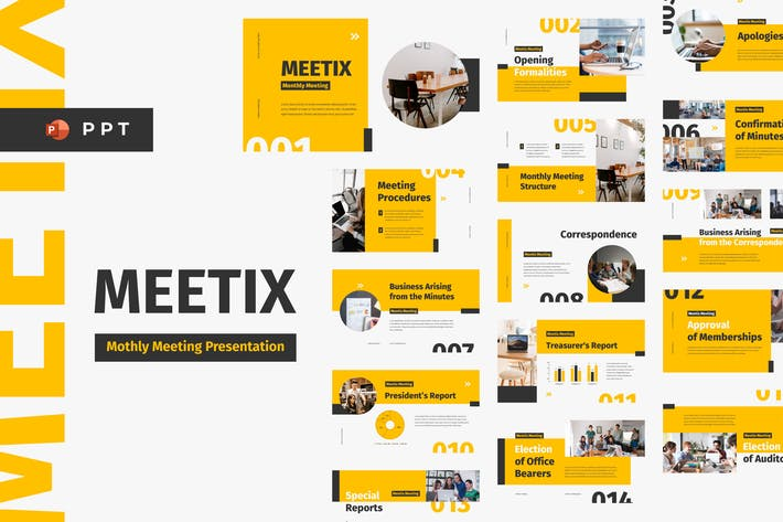 Thumbnail for MEETIX - Monthly Meeting Powerpoint Template