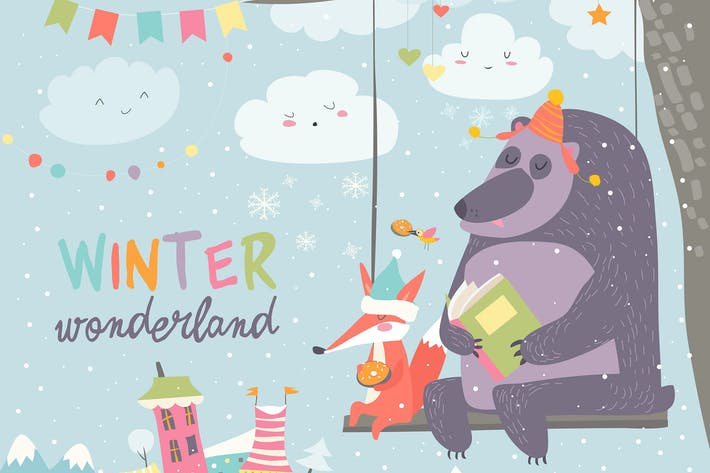 Cover Image For Funny bear and fox swinging in winter park. Vector