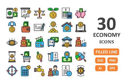 30 Economy-Icons - Gefüllte Linie