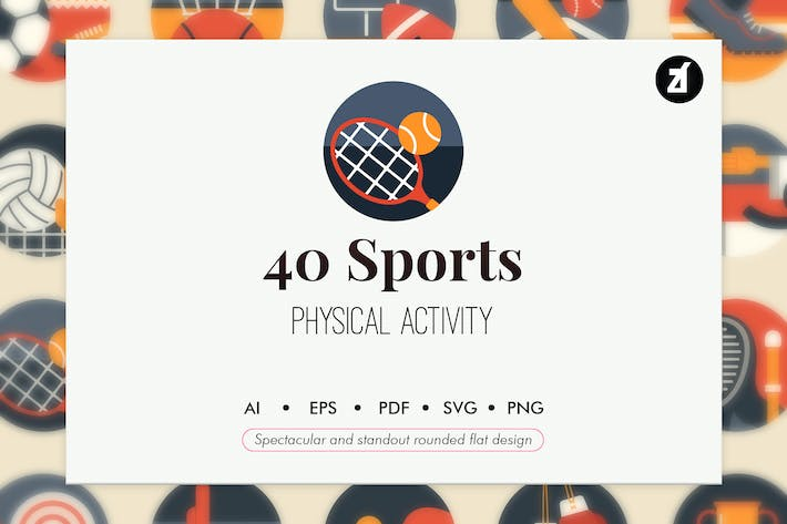 Thumbnail for 40 Sports elements in rounded flat design