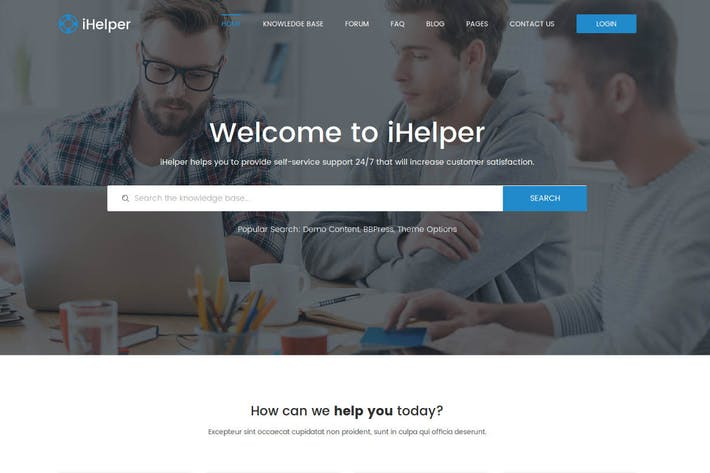 Thumbnail for iHelper - Drupal Knowledge & Helpdesk Theme