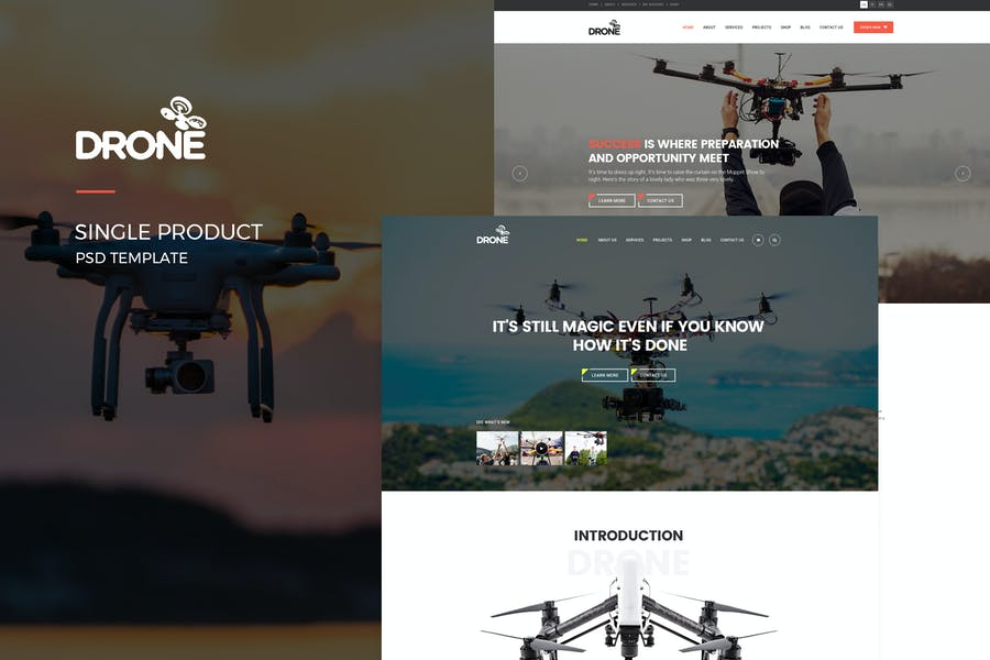 Drone : Single Product PSD Template