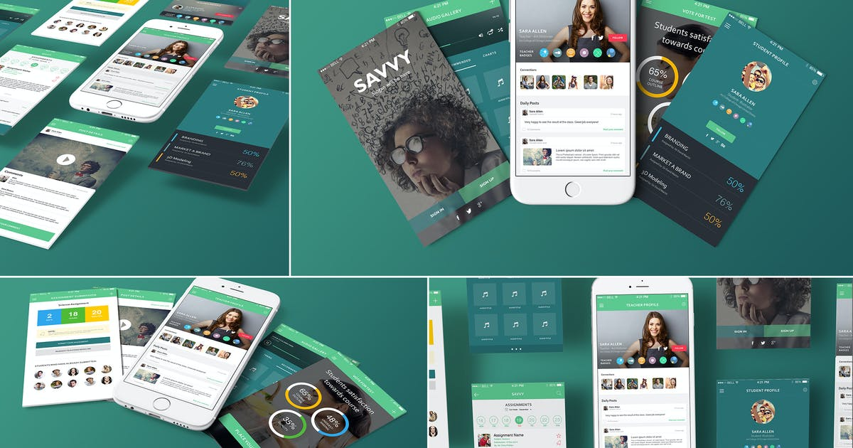 Download 4 iPhone 6s Perspective Screen Mockups by zippypixels