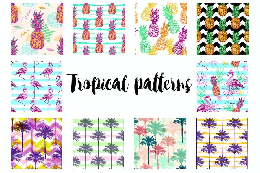 Retro Tropical Seamless Patterns