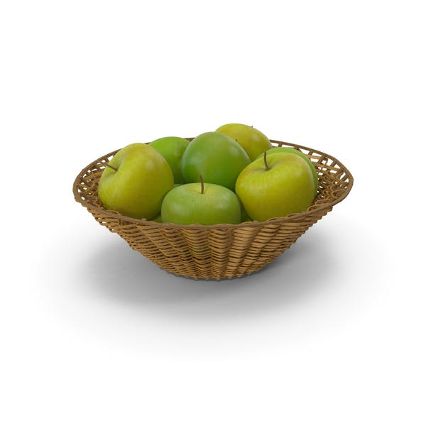 Thumbnail for Wicker Basket with Green apples
