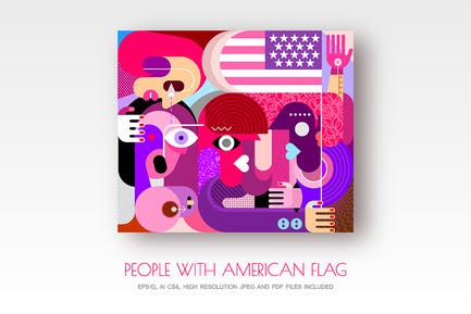 Group of people with US/UK flag vector artworks