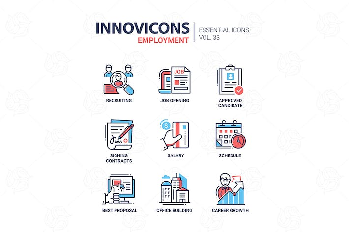 Thumbnail for Employment- modern vector line icons set
