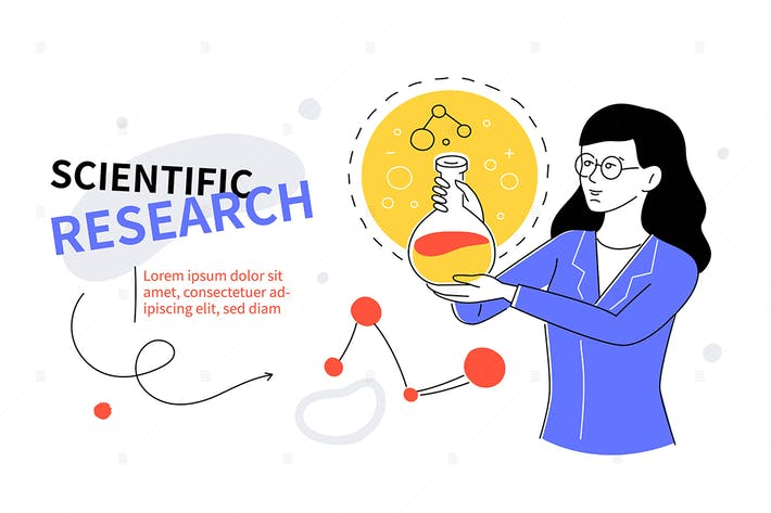 Thumbnail for Scientific research - colorful flat design banner