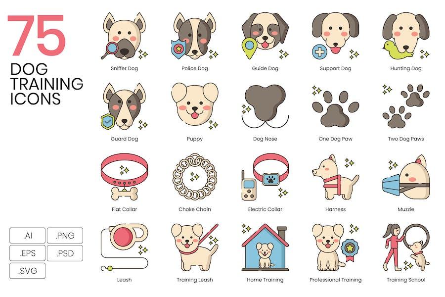 75 Dog Training Icons - Hazel Series