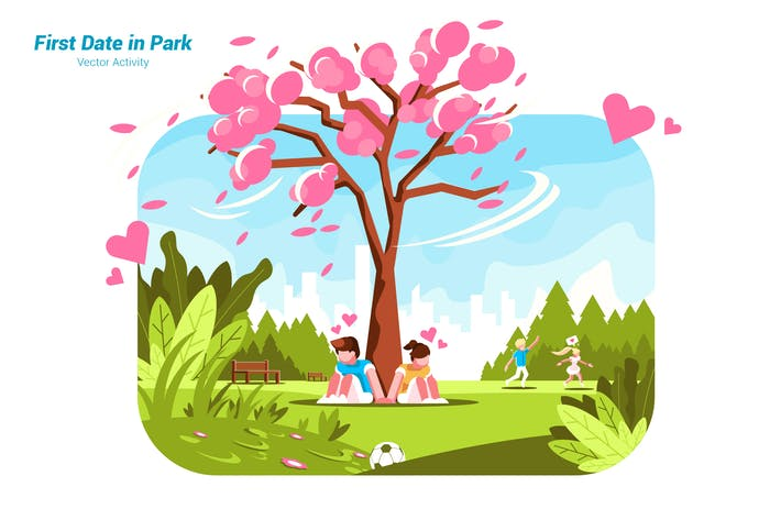 Thumbnail for First Date In Park - Vector Illustration