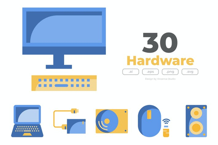 Thumbnail for 30 Иконки компьютерного оборудования - FLAT