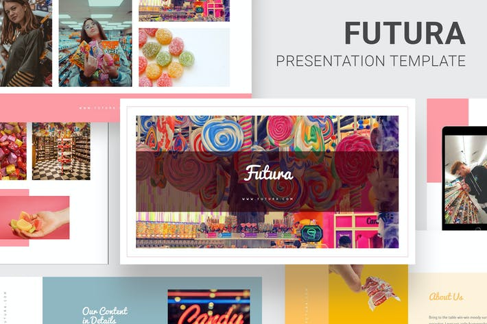 Thumbnail for Футура - Candy Поп тема шаг колоды Powerpoint