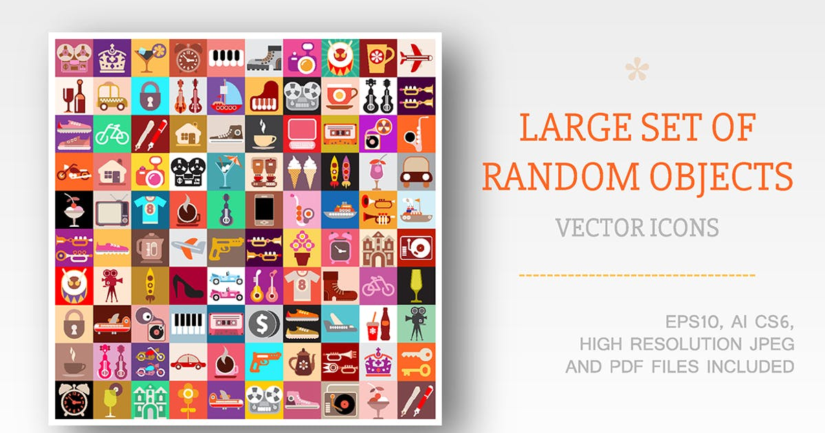 Download Large set of Random objects vector illustration by danjazzia