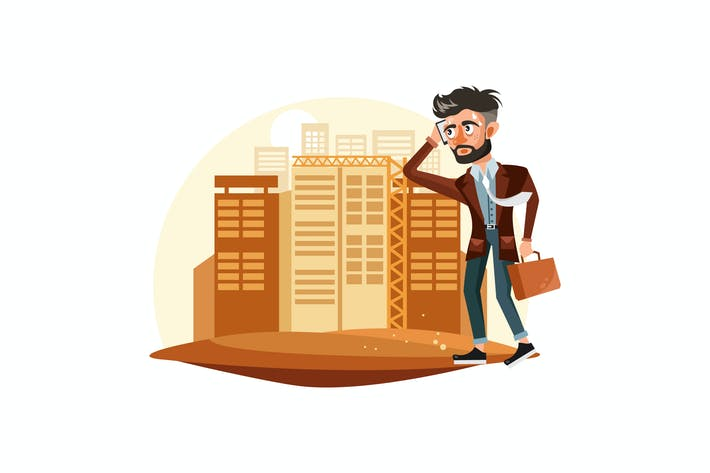Thumbnail for Tired Businessman Vector Illustration