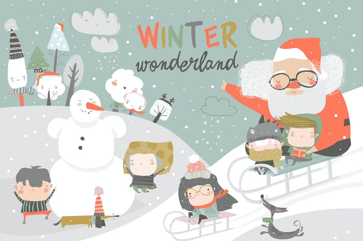 Cover Image For Happy cute kids playing winter games with Santa Cl