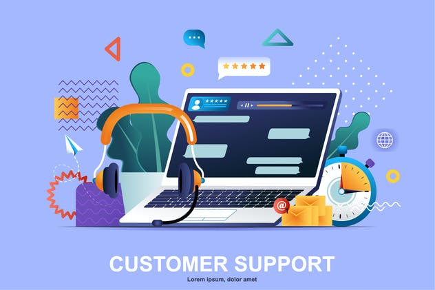 Customer Support Flat Concept Vector Illustration
